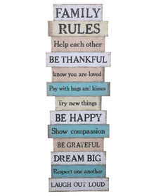 Bali Family Rules Wooden Print