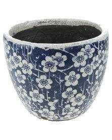 Bali Floral Glazed Crackle Planter Blue