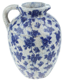 Bali Rose Glazed Crackle Jug Blue & White