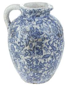 Bali Floral Glazed Crackle Jug Blue & White