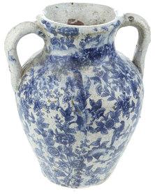 Bali Floral Glazed Crackle Urn Blue & White