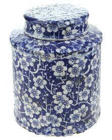 Bali Flower Glazed Crackle Ginger Jar Blue & White