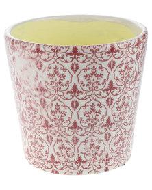 Bali Ceramic Plant Holder Red/White