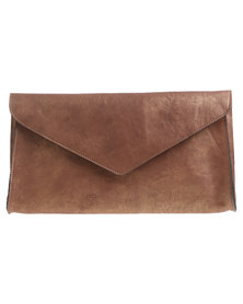Baobab Leather Ife Oversized Clutch Bag Bronze