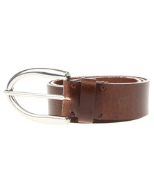 Baobab Large Buckle Leather Jeans Belt Brown