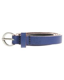Baobab Colour Block Edge Skinny Leather Belt Blue