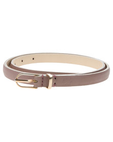 Baobab Phala Textured Leather Skinny Belt Grey