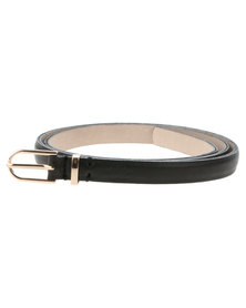 Baobab Phala Textured Leather Skinny Belt Black
