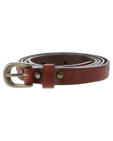 Baobab Phiva Leather Stitch Detail Skinny Belt Tan