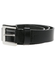 Baobab Tiaret Silver Buckle Leather Jeans Belt Black