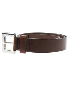 Baobab Tiaret Silver Buckle Leather Jeans Belt Brown