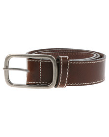 Baobab Bassia Contrast Stitch Leather Belt Tan
