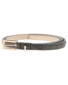 Baobab Kwena Leather Skinny Belt Grey