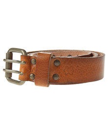 Baobab Brushed Brass Buckle Leather Jeans Belt Tan