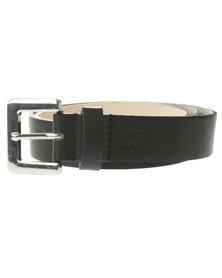 Baobab Silver Buckle Leather Jeans Belt Black