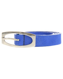 Baobab Suede Leather Skinny Belt Blue