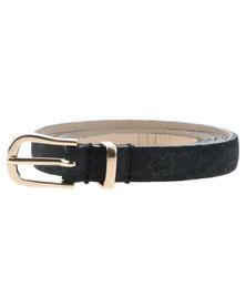 Baobab Noko Leather Skinny Belt Black