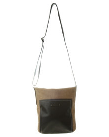 Baobab Marjani Colour Block Cross Body Leather Bag Beige