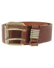 Baobab Baako Double Prong Leather Belt Brown