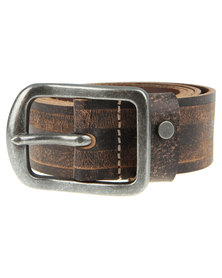 Baobab Arusi Contrast Colour Stripe Leather Belt Brown