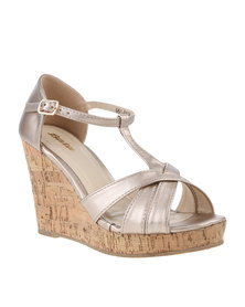 Bata High Heeled Peep Toe Wedge Gold