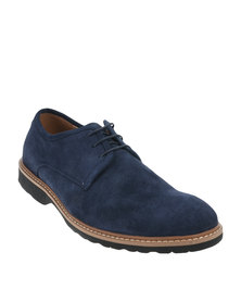 Bata Rhino Leather Casual Lace Up Shoe Blue