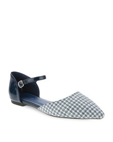 Bata Pointed Tweed Ballerina Pumps Navy