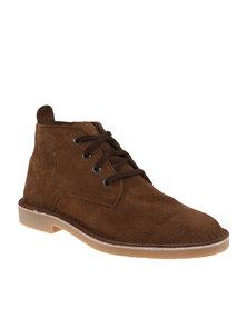 Bata Safari Mens Leather Boot Tan