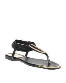 Bata Ladies Sling Black Sandals BlackPewter
