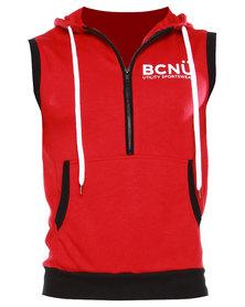 BCNU Iconic Sleeveless Hoodie Red