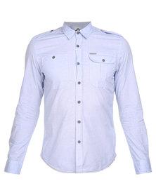 Being Human Woven L/Sleeve Shirt Light Blue