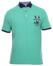 Being Human Knitted Polo Tee Green