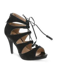 Bellucci Laced Multi Strap Platform Heels Black