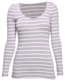 Betty Basics Madonna L/S Scoop Tee Grey & White