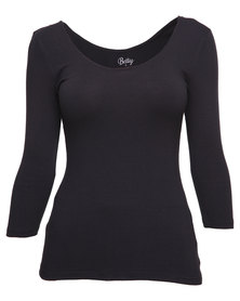 Betty Basics Linda 3/4 Sleeve Top Black