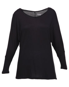 Betty Basics Milan 3/4 Sleeve Top Black