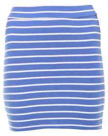 Betty Basics Kylie Stripe Mini Skirt Blue/White