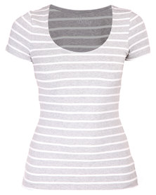 Betty Basics Britney Scoop Tee Silver and White