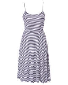Betty Basics Sahara Midi Dress Navy/White