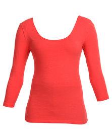 Betty Basics Linda 3/4 Sleeve Top Orange