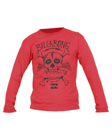 Billabong Cross Bones Long Sleeve Tee Red