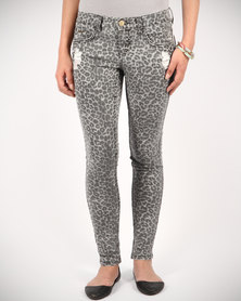 Billabong Animal Print Pixie Jeans Grey