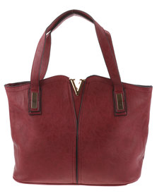 Blackcherry Bag Chevron Trim Structured Tote Bag Burgundy