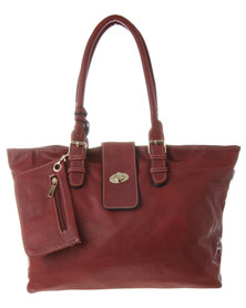 Blackcherry Tab Detail Tote Red