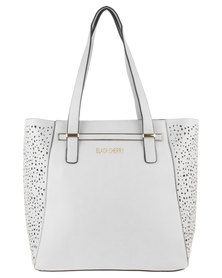 Blackcherry Trapeze Tote and Leopard Pouch Bag White