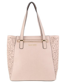 Blackcherry Trapeze Tote and Leopard Pouch Bag Pink