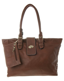Blackcherry Tab Detail Tote Brown