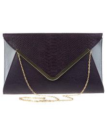 Blackcherry Snake Envelope Clutch Purple