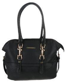 Blackcherry Bag Crock Trimmed Handbag Black
