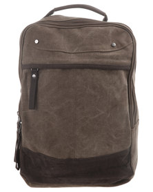 Blackchilli Box Canvas Backpack with Front Zip Brown